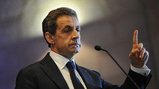 Nicolas Sarkozy, le 8 décembre 2015, en meeting à Rochefort (Charente-Maritime). (XAVIER LEOTY / AFP)