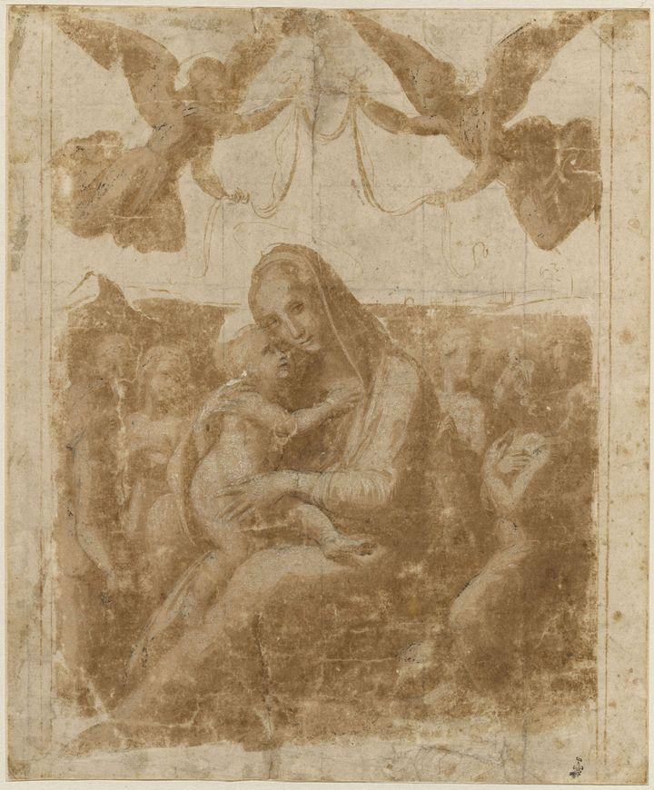 Madone d'humilité, couronnée par deux anges, volant et entourée par six autres anges - Plume et encre brune, lavis brun, rehauts de blanc, tracé préparatoire à la pierre noire - de Raffaello Sanzio, dit Raphaël (Urbino, 1483 - Rome, 1520). (RMN - GRAND PALAIS - DOMAINE DE CHANTILLY - THIERRY OLLIVIER 2019)