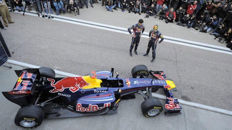Les deux Red Bull de Webber et Vettel lors du départ du GP de Grande-Bretagne