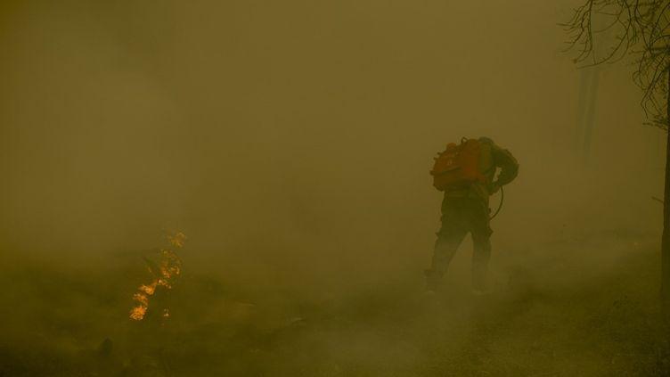 Un pompier lutte contre les flammes dans le village de Kuel, en Yakoutie,dans le nord-est de la Sibérie (Russie), le 8 août 2021. (IVAN NIKIFOROV / ANADOLU AGENCY / AFP)