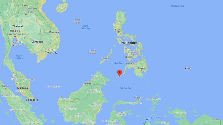 Capture d'écran de Google Maps pointant l'île de Jolo (Philippines) où un avion avec 92 personnes à bord s'est écrasé le 4 juillet 2021, faisant au moins 17 morts. (GOOGLE MAPS)