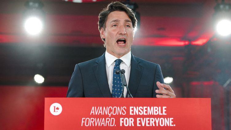 Le Premier ministre canadien Justin Trudeau prononce son discours de victoire à l'hôtel Fairmount Queen Elizabeth à Montréal, (Québec), le 21 septembre 2021. (ANDREJ IVANOV / AFP)