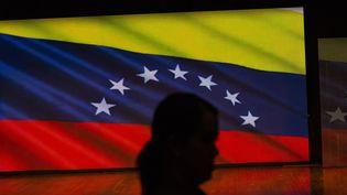 Une femme marchant devant un écran avec le drapeau du Venezuela, lors d'un meeting entre l'autoproclamé président par intérim Juan Guaido, et des étudiants de l'Université Centrale du Venezuela (UCV), à Caracas, le 8 février 2019. (MARCELO PEREZ DEL CARPIO / ANADOLU AGENCY)