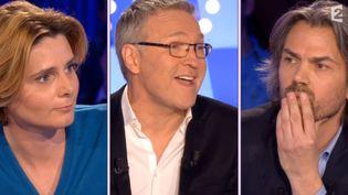 """Caroline Fourest et Laurent Ruquier sur le plateau d'""""On n'est pas couchés"""", le 2 mai sur France 2. ( FRANCE 2)"""