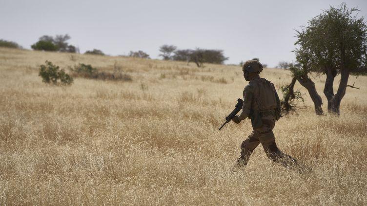 Un soldat de l'armée française patrouille dans une zone rurale lors de l'opération Barkhane dans le nord du Burkina Faso, le 12 novembre 2019. (MICHELE CATTANI / AFP)