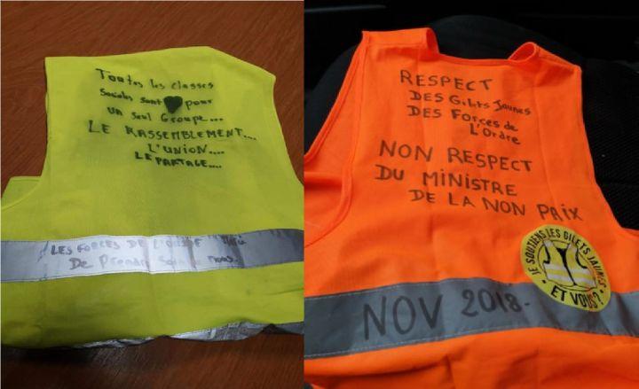 Les gilets que portent Carole Lecouvez lors des manifestations. (CAROLE LECOUVEZ)