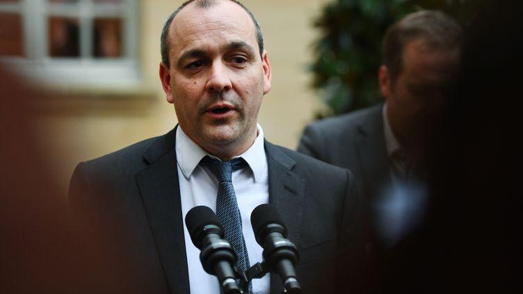 Le secrétairegénéral de la CFDT, Laurent Berger, lors d'un point presse à Matignon, à Paris, le 10 janvier 2020. (CHRISTOPHE ARCHAMBAULT / AFP)