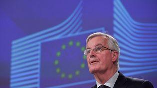 Le négociateur en chef pour le Brexit, Michel Barnier, présente l'accord conclu avec le Royaume-Uni, le 14 novembre 2018 à Bruxelles. (EMMANUEL DUNAND / AFP)