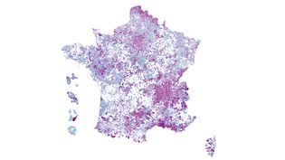 Carte du taux d'incidence par commune, le 22 octobre 2020. (FRANCEINFO)
