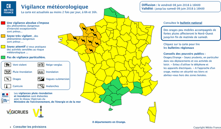 Carte de vigilance publiée le 8 juin 2018 à 16 heures. (METEO FRANCE)