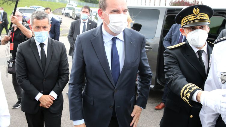 Le Premier ministre Jean Castex est en visiteà Saint-Dizier (Haute-Marne) avec le ministre de l'Intérieur Gérald Darmanin, le 26 juillet 2021. (FRANCOIS NASCIMBENI / AFP)