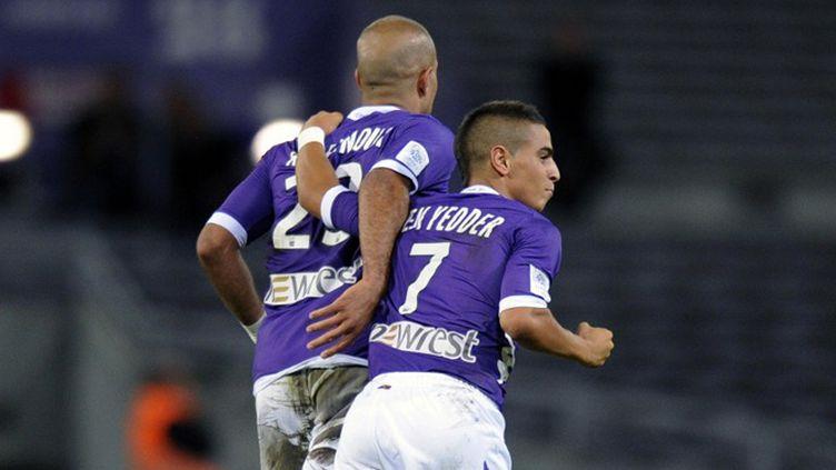 La joie des Toulousains après l'ouverture du score par Pantxi Sirieix (à gauche) (PASCAL PAVANI / AFP)
