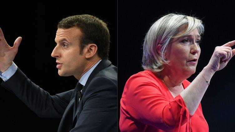 Emmanuel Macron et Marine Le Penrespectivement photographiés le 10 décembre 2016 à Paris et le 11 mars 2017 à Déols (Indre). (ERIC FEFERBERG / AFP)