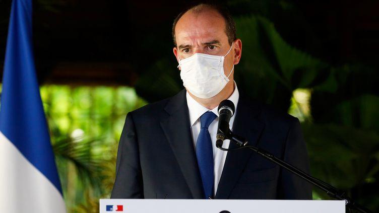 Le Premier ministre Jean Castex prononce un discours à Cayenne, en Guyane, le 12 juillet 2020. (JODY AMIET / AFP)
