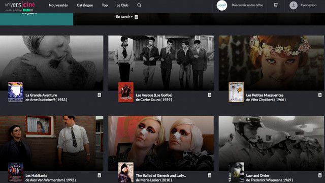 Page d'accueil de la plateforme de streaming d'UniversCiné. (UniversCiné)