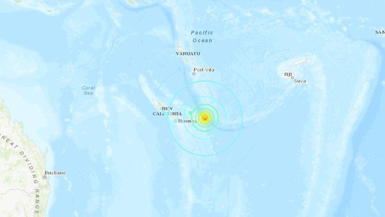 Capture d'écran d'une carte de l'Institut américain USGS montrant l'épicentre d'un séisme au large de la Nouvelle-Calédonie, le 5 décembre 2018. (USGS)