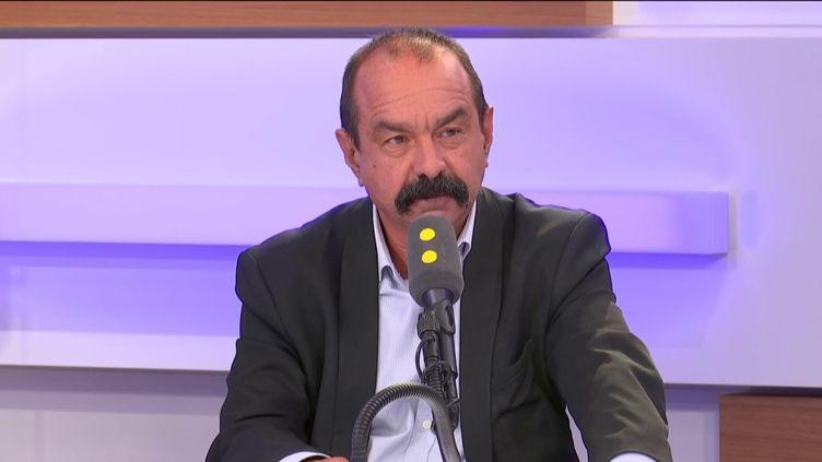Philippe Martinez, secrétaire général de la CGT, le 6 septembre 2019 sur franceinfo. (FRANCEINFO / RADIOFRANCE)