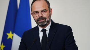 Le Premier ministre, Edouard Philippe, le 19 décembre 2019, à Matignon (Paris) après des négociations avec les partenaires sociaux sur la réforme des retraites. (MARTIN BUREAU / AFP)