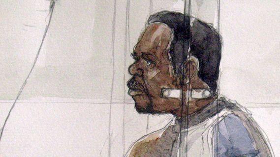 Croquis d'audience réalisé le 20 février 2012, qui représente David Sagnoau premier jour de son procès devant la cour d'assises des Hauts-de-Seine, à Nanterre. (BENOIT PEYRUCQ / AFP)