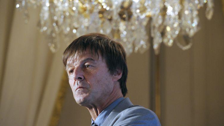 Nicolas Hulot assiste à une conférence de presse à Paris, le 6 décembre 2013. (ALAIN JOCARD / AFP)