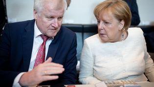 La chancelière allemande, Angela Merkel, au côté de son ministre de l'Intérieur, le conservateur bavarois Horst Seehofer, au Parlement allemand à Berlin, le 12 juin 2018. (KAY NIETFELD / DPA / AFP)