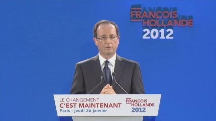 François Hollande, candidat PS à la présidentielle, à la Maison des Métallos, le 26 janvier 2012 à Paris. (FTVi / FRANCE 2)