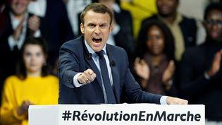 Emmanuel Macron lors d'un meeting à Paris, le 10 décembre 2016. (BENOIT TESSIER / REUTERS)