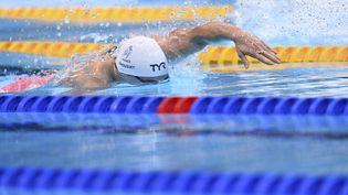 Maxime Grousset lors des séries du 100 mètres nage libre, le 27 juillet à Tokyo. (KEMPINAIRE STEPHANE / KMSP / AFP)