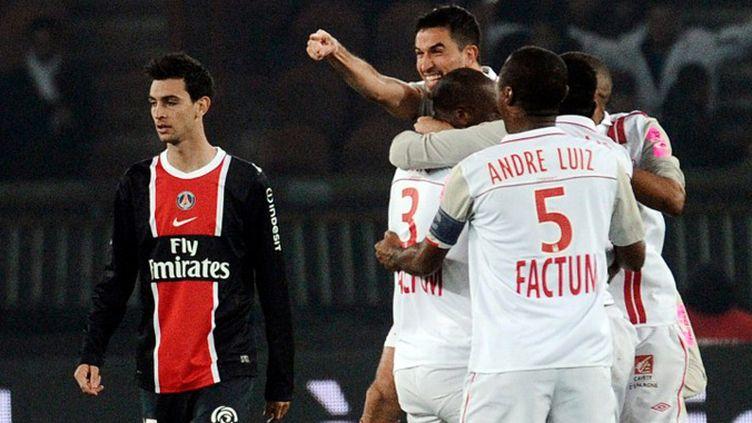 Déception de Javier Pastore (PSG) après la défaite face à Nancy (FRED DUFOUR / AFP)