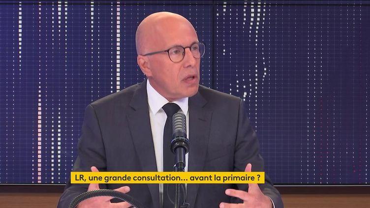 Eric Ciotti, député LR des Alpes-Maritimes et candidat à la primaire de la droite, est l'invité du 8h30franceinfo, mardi 31 août (FRANCEINFO / RADIOFRANCE)