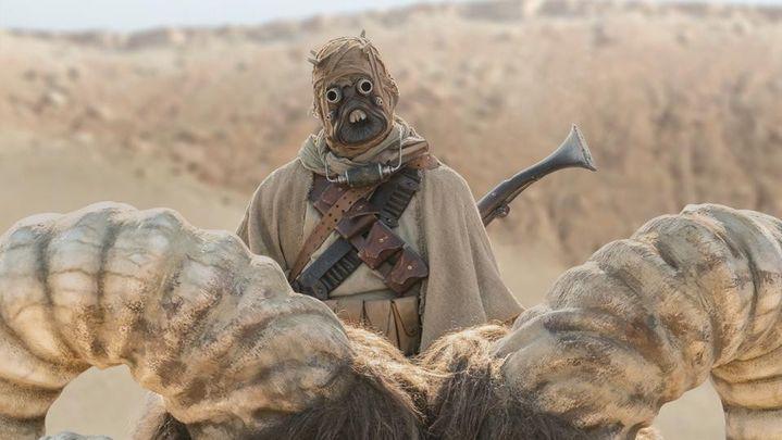 """Un homme des sables sur un bantha, sa monture, dans le premier épisode de """"The Mandalorian"""" saison 2, réalisé par Jon Favreau. (Disney+)"""
