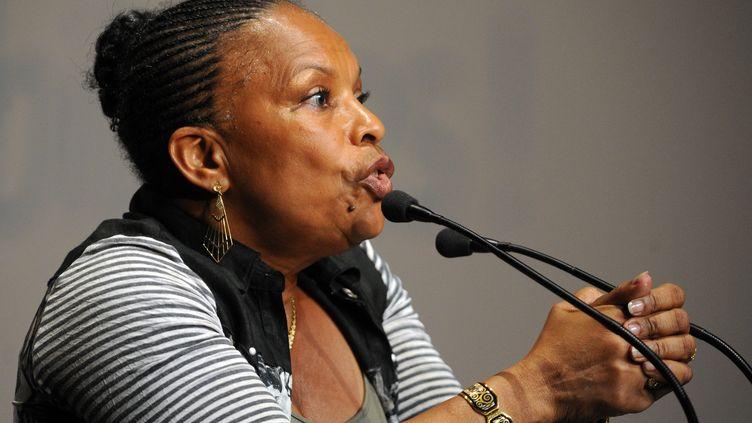 La ministre de la Justice, Christiane Taubira, à l'université d'été du PS le 24 août 2013 à La Rochelle. (ALAIN JOCARD / AFP)