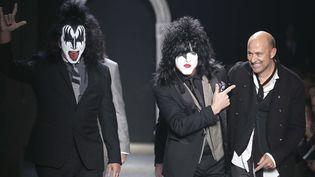 Gene Simmons et Paul Stanley le 11 janvier 2014 au défilé de John Varvatos.  (Antonio Calanni/AP/SIPA)