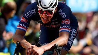 Mathieu van der Poel lors de sa victoire sur la 2e étape du Tour de France, le 27 juin. (MICHAEL STEELE / AFP)