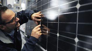 Axel Becker, directeur du projet photovoltaïque de l'usine Bosch de Vénissieux (Rhône), vérifie le montage des éléments de panneaux, le 19 décembre 2011. (PHILIPPE DESMAZES / AFP)