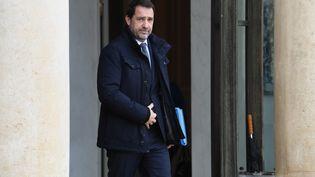 Le ministre de l'Intérieur, Christophe Castaner, à la sortie de l'Elysée, le 12 février 2020. (ALAIN JOCARD / AFP)