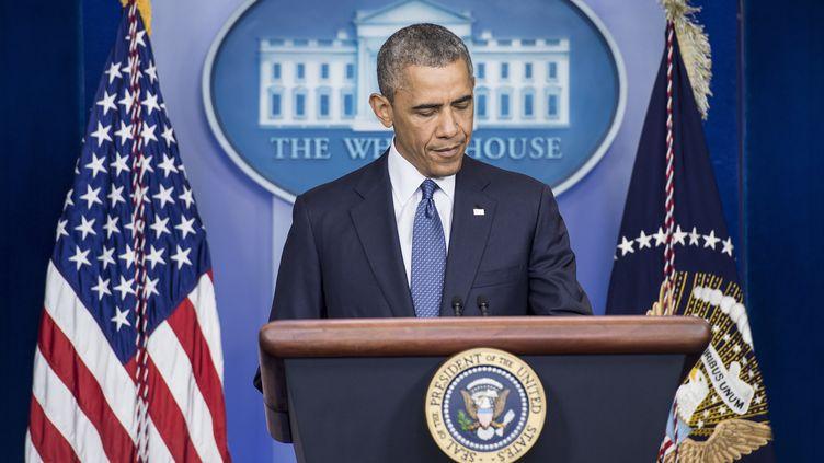 Le président américain Barack Obama, lors d'une conférence de presse à la Maison Blanche à Washington,le 1er août 2014. (BRENDAN SMIALOWSKI / AFP)
