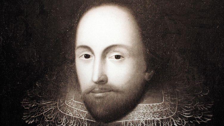 Un portrait récemment authentifié de William Shakespeare, lors de son exposition à Mainz, en Allemagne, le 12 février 2014. L'expertise a été réalisée par Hildegard Hammerschmidt-Hummel.  (Daniel Reinhardt / DPA / Picture-Alliance / AFP)