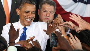 Le président démocrate Barack Obama le 27 septembre 2012 à Virginia Beach, en Virginie(Etats-Unis). (MARK WILSON / GETTY IMAGES NORTH AMERICA)