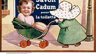 """Une ancienne publicité pour la marque Cadum, sur laquelle figure un bébé élu """"Bébé Cadum"""", à l'occasion d'un concours organisée depuis 1925. (YL I/ SIPA)"""
