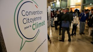 Le logo de la Convention citoyenne pour le climat, le 18 novembre 2019 à Lille (Nord). (MAXPPP)