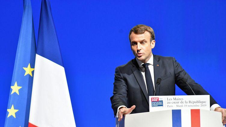 Le président de la République, Emmanuel Macron, au congrès des Maires de France, le 19 novembre 2019. (DANIEL PIER / NURPHOTO / AFP)