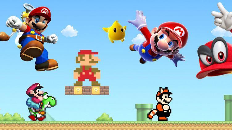 Du premier Super Mario Bros sur NES à Super Mario Odyssey sur Switch, le design du héros s'est progressivement dépixelisé pour gagner en rondeur et en couleurs. (Montage Sandrine Cuissinat)