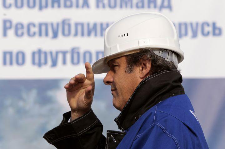 Michel Platini, président de l'UEFA, pendant les célébrations des 100 ans du football biélorusse, à Minsk, en 2011. ( VASILY FEDOSENKO / REUTERS)