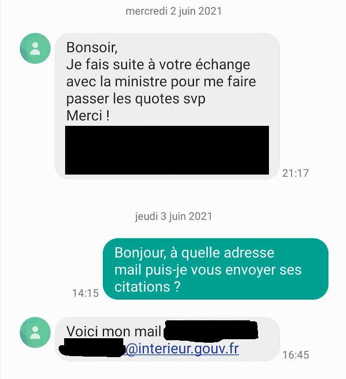 Echanges entre franceinfo et la conseillère presse de Marlène Schiappa. (CAPTURE FRANCEINFO)