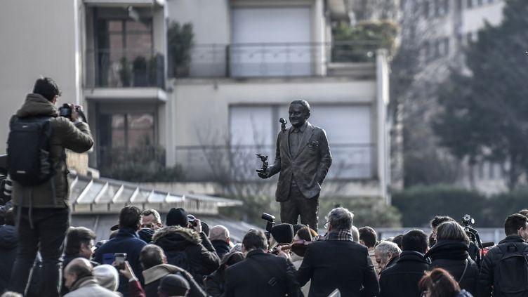 Inauguration de la statue de René Goscinny, signée Sébastien Langloys, 23 janvier 2020 (STEPHANE DE SAKUTIN / AFP)