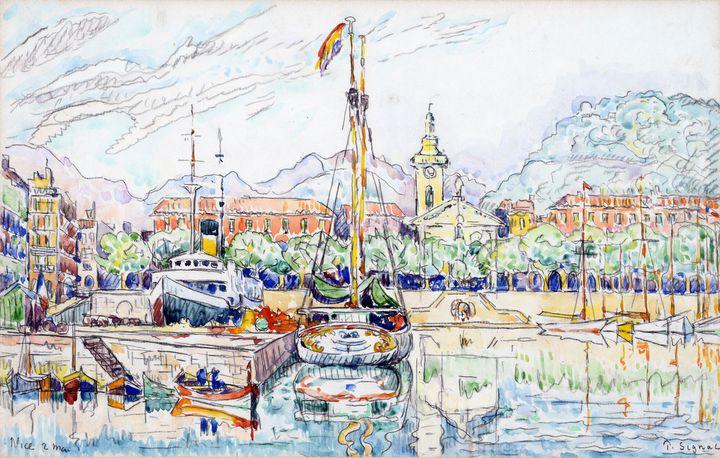 """Paul Signac (1863–1935), """"Nice, 2 mai 1931"""", Aquarelle et mine de plomb sur papier vergé (Collection particulière)"""