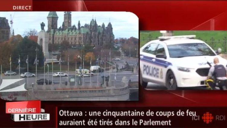 Capture d'écran de la chapine canadienne ICI RDI mopntrant le Parlament d'Ottawa (Canada) en alerte, le 22 octobre 2014. (RADIO CANADA)