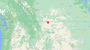 Au moins trois personnes sont mortes dans le déraillement d'un train près de Joplin, dans le Montana (Etats-Unis), le 25 septembre 2021. (GOOGLE MAPS)