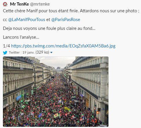 Capture d'écran d'un tweet suspectant une retouchedans une photo des anti-PMA, le 19 janvier 2020 à Paris (TWITTER)